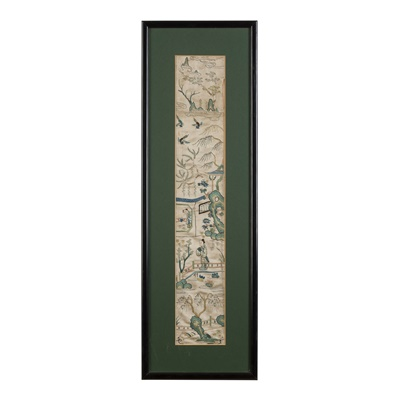 Lot 23-THREE SILK EMBROIDERED WALL HANGINGS
