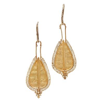 Lot 64-A pair of South East Asian pendant earrings
