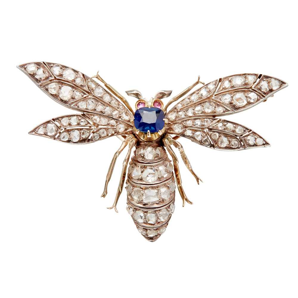 Lot 3-A late 19th century sapphire and diamond set insect brooch