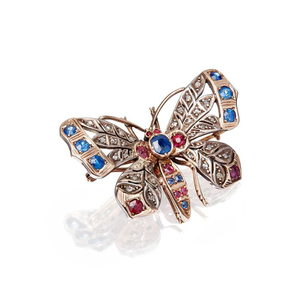 Lot 4-A late 19th century multi-gem set butterfly brooch