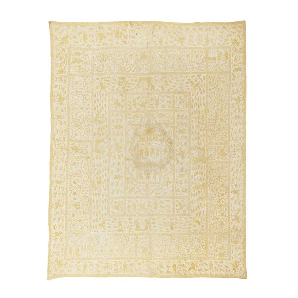 Lot 614 - INDO-PORTUGUESE EMBROIDERED COVERLET (COLCHA)