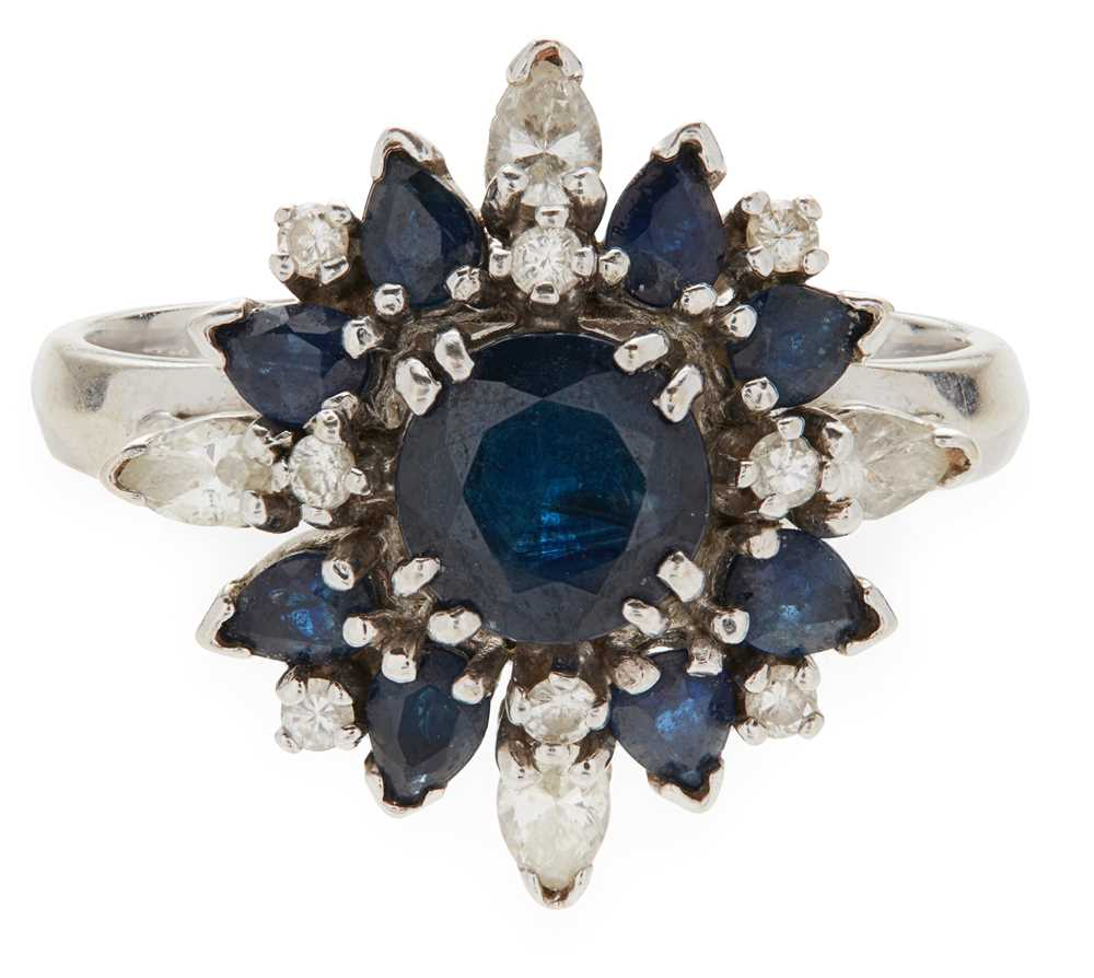 Lot 17-A sapphire and diamond set cluster ring