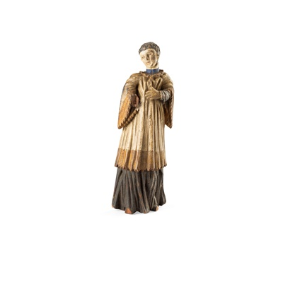Lot 425 - ENGLISH CARVED AND PAINTED FIGURE OF A CHORISTER