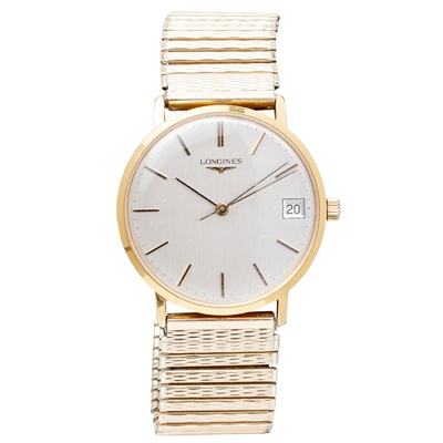 Lot 149 - A gentleman's gilt cased dress wristwatch, Longines