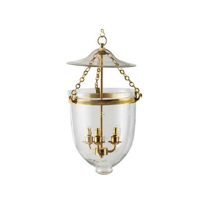 Lot 512 - ENGRAVED GLASS BELL JAR HANGING LANTERN