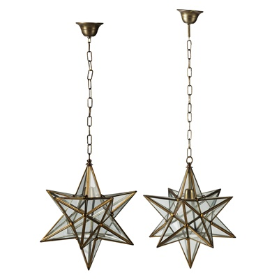 Lot 520 - PAIR OF STAR-SHAPED GLASS AND BRASS HANGING LIGHTS