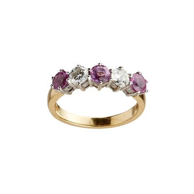 Lot 27-A pink sapphire and diamond set five stone ring