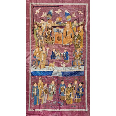 Lot 28-LARGE SILK EMBROIDERED WALL HANGING