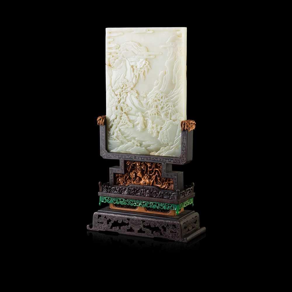Lot 89 - WHITE JADE INSET HARDWOOD TABLE SCREEN