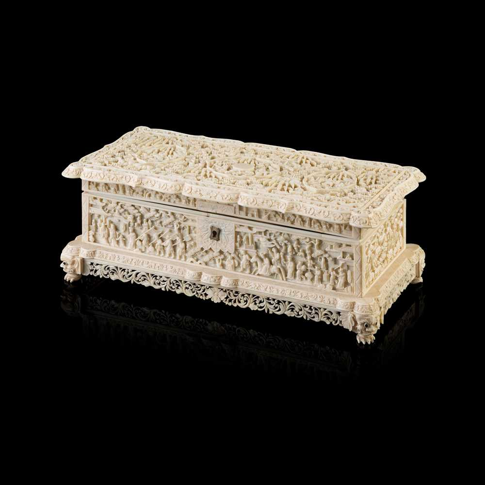 Lot 30-IVORY  RECTANGULAR BOX WITH COVER