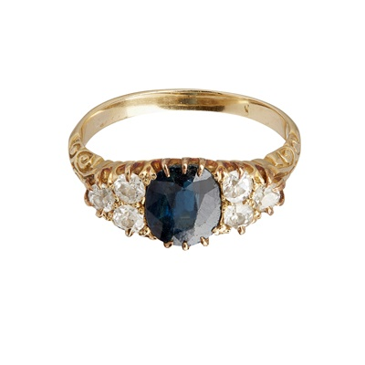 Lot 52-A sapphire and diamond set ring