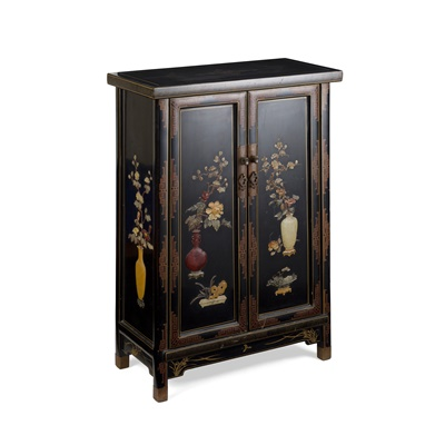 Lot 14-PAIR OF LACQUERED AND HARDSTONE INLAID CABINETS