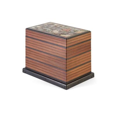Lot 7-MOTHER-OF-PEARL AND HARDSTONE INLAID RECTANGULAR TREASURE BOX