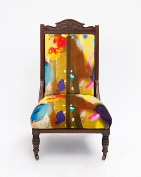 Lot 18-TIMOROUS BEASTIES GRAFFITI WOODEN CHAIR