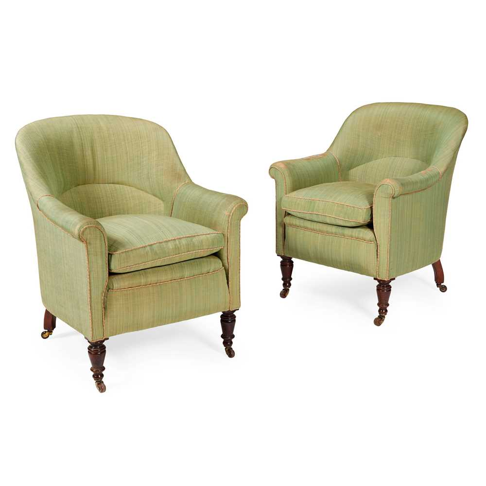 Lot 292 - PAIR OF  UPHOLSTERED TUB ARMCHAIRS