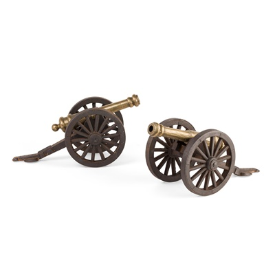 Lot 31 - PAIR OF BRASS AND IRON SIGNAL CANNONS