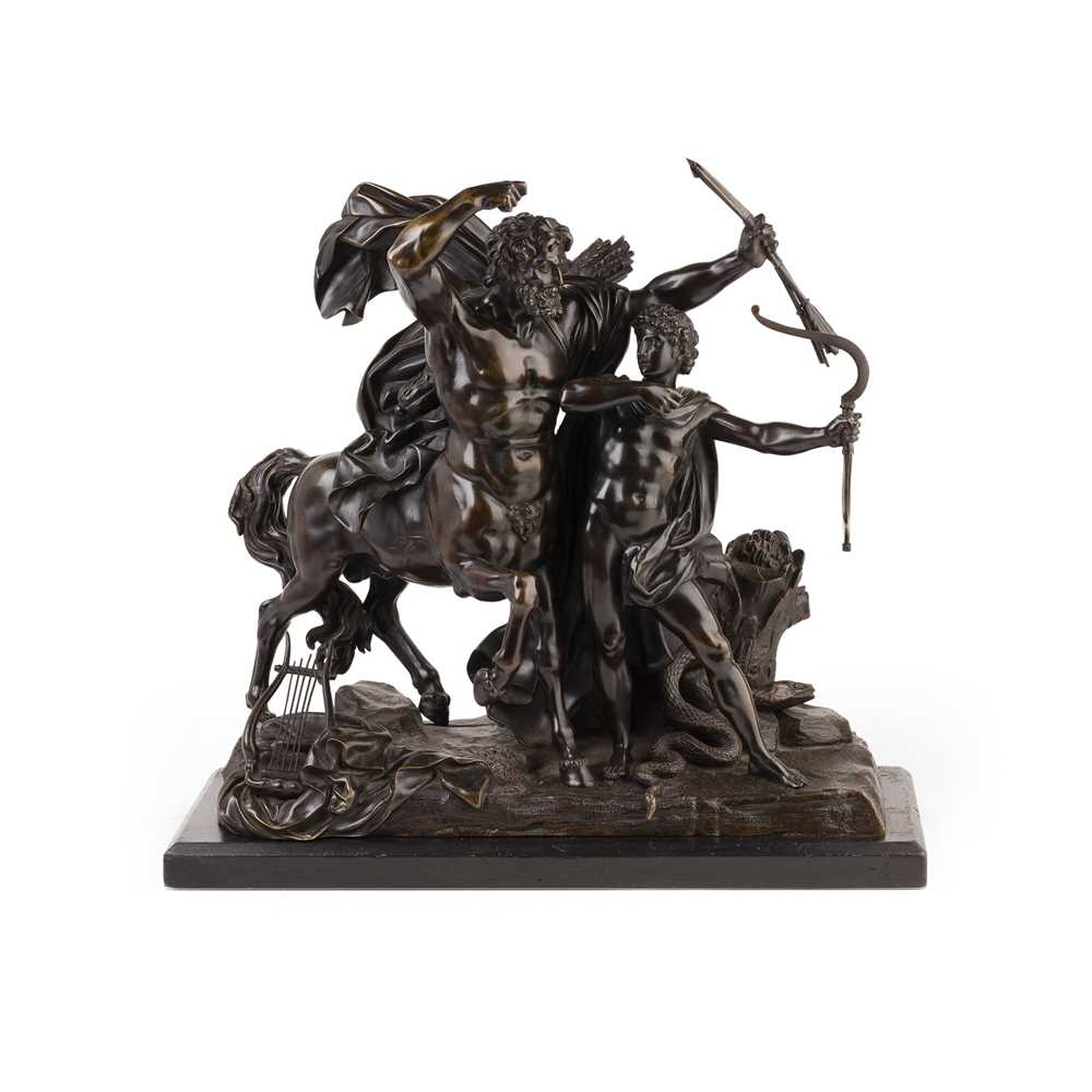 Lot 413 - AFTER FRANCOIS RUDE, BRONZE FIGURE GROUP OF THE EDUCATION OF ACHILLES BY THE CENTAUR CHIRON