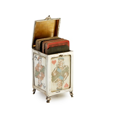 Lot 243 - EDWARDIAN SILVER PLAYING CARD BOX, BY JAMES DEAKIN & SONS, CHESTER