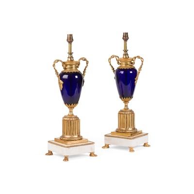 Lot 185 - PAIR OF SCANDINAVIAN GILT BRONZE, COBALT GLASS AND MARBLE URNS