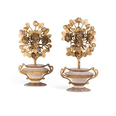 Lot 98 - PAIR OF ITALIAN PAINTED AND GILT WOOD  FLOWERING URNS
