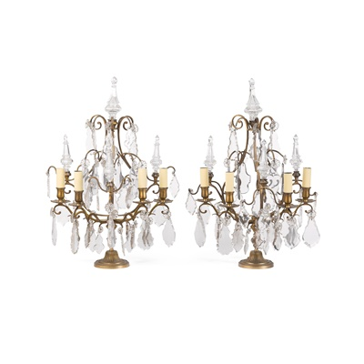 Lot 99 - PAIR OF LOUIS XV STYLE BRASS AND CUT GLASS LIGHTS