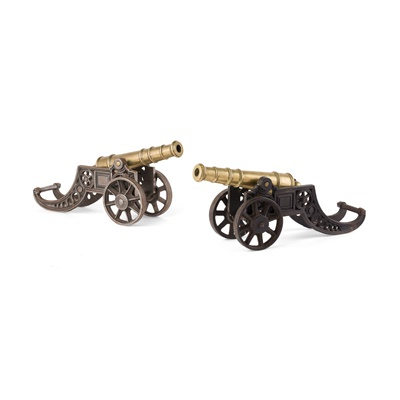 Lot 56 - PAIR OF BRASS AND STEEL SIGNAL CANNONS