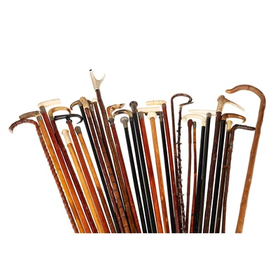 Lot 28 - LARGE COLLECTION OF WALKING STICKS AND CANES