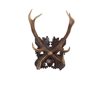 Lot 1 - PAIR OF BLACK FOREST ANTLER AND WOOD WALL HOOKS