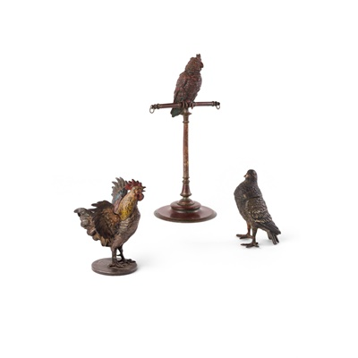 Lot 30 - AUSTRIAN COLD PAINTED BRONZE PIGEON INKWELL