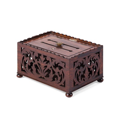 Lot 24-CARVED ROSEWOOD AND MOTHER-OF-PEARL MOUNTED LETTER BOX