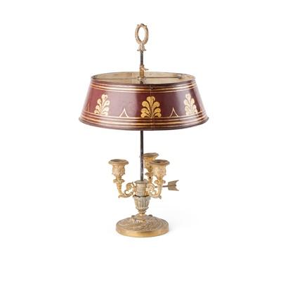 Lot 11-FRENCH GILT BRASS BOUILLOTTE LAMP