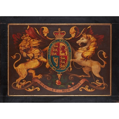 Lot 16-PAINTED WOOD COACH PANEL WITH THE ROYAL COAT OF ARMS