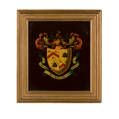 Lot 35 - FOUR SMALL PAINTED WOOD ARMORIAL COACH PANELS