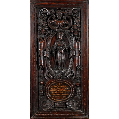 Lot 36 - FRENCH CARVED MAHOGANY PANEL