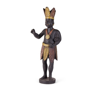 Lot 64 - CARVED AND PAINTED WOOD 'INDIAN' TOBACCO  FIGURE