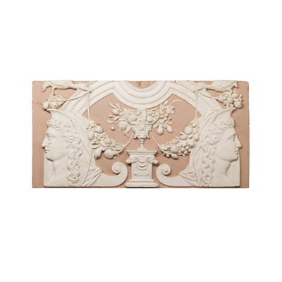 Lot 7-THREE CARVED AND  PAINTED WOOD AND PLASTER  PLAQUES