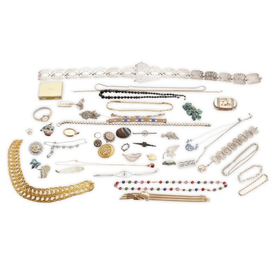 Lot 140 - A collection of mainly silver and costume jewellery