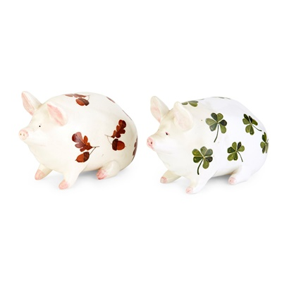 Lot 111 - TWO SMALL WEMYSS WARE PIG FIGURES