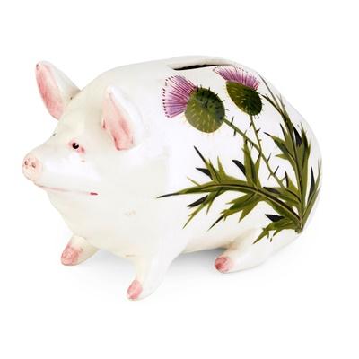 Lot 110 - A SMALL WEMYSS WARE MONEYBOX PIG, FOR PLICHTA, LONDON