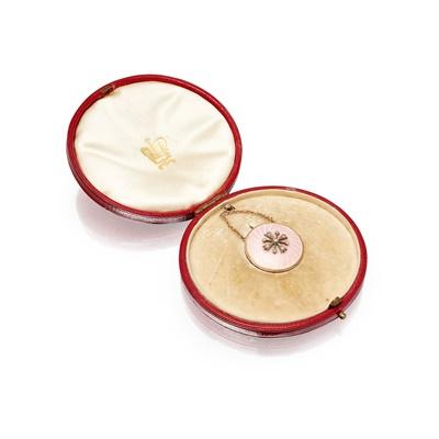 Lot 87 - A Victorian enamel and diamond set pendant