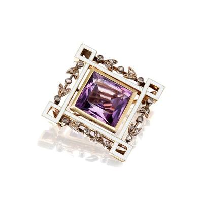 Lot 59-A Victorian amethyst and diamond set brooch