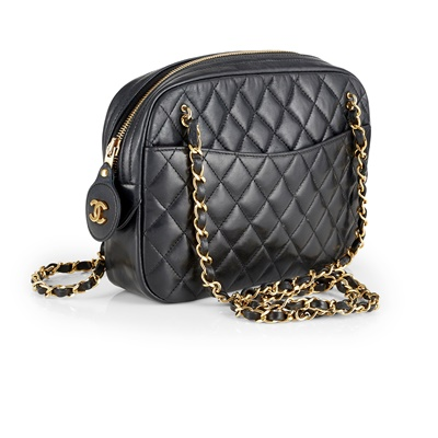 Lot 156 - A black quilted chain shoulder bag, Chanel