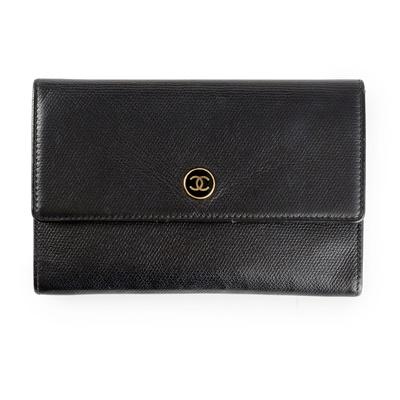 Lot 158 - A black leather flap wallet, Chanel