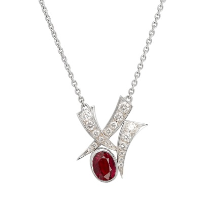 Lot 89 - An 18ct gold ruby and diamond set pendant necklace