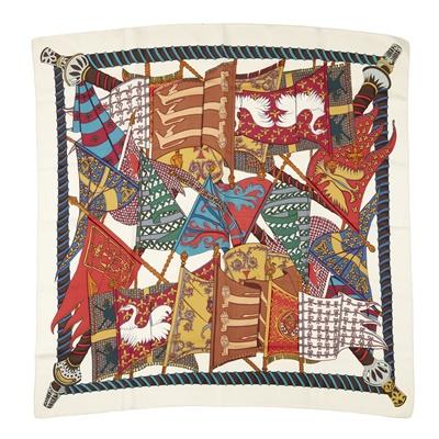 Lot 168 - Two silk patterned scarves, Hermes