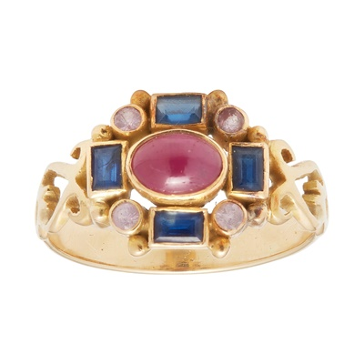Lot 8-A multi-gem set cluster ring