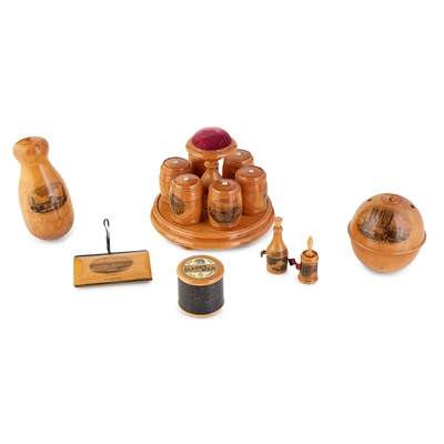Lot 43-A GROUP OF MAUCHLINE WARE SEWING ITEMS
