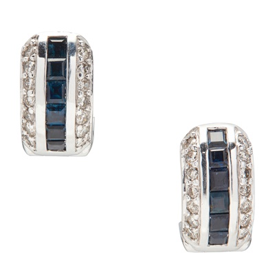 Lot 27 - A pair of sapphire and diamond set earrings