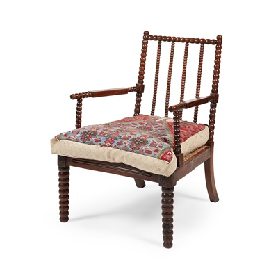 Lot 3 - A SCOTTISH SIMULATED ROSEWOOD BOBBIN -TURNED ARMCHAIR