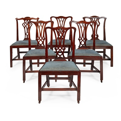 Lot 38 - MATCHED SET OF SIX GEORGE III MAHOGANY DINING CHAIRS